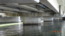 Photograph of a bridge piers in the tidal zone at Cockle Creek